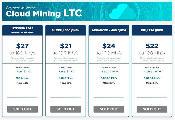 Тарифы CryptoUniverse на добычу Litecoin (LTC)